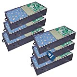 Underbed Storage Containers 6 Pack 70l Under-Bed Storage Bags for Clothes Blankets Pillows Large Foldable Storage Bin with Handle Clear Window Grey Non-Woven with Double Zipper Storage Under the Bed (6 pack, Grey)