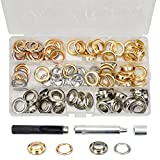 BIGP Juego de 120 ojales de 1/2 pulgadas, ojales de 12 mm, ojales de metal, color dorado, plateado, 2 colores con herramientas y caja de almacenamiento