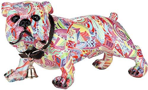 Moderne sculptuur mopshond POP ART gemaakt van kunststeen veelkleurig 25x14 cm