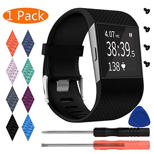 KingAcc Fitbit Surge Bands, Silicone Accessory Replacement Band for Fitbit Surge, with Metal Buckle Fitness Wristband Strap WatchBand Women Men (1-Pack, Black, Small)
