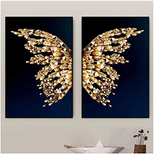 Arte de Pared, alas de Mariposa Doradas, Lienzo Abstracto Moderno, Impresiones de Pintura para decoración del hogar, 50 x 70 cm, sin Marco, 2 Piezas