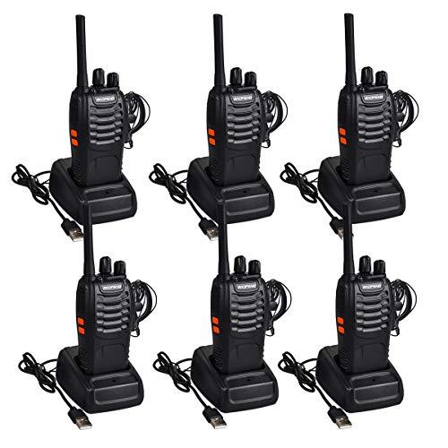 Funkprofi Walkie Talkie Set, Funkgeräte 16 Kanäle Reichweite 5 km Wireless Professionelle Hand-Funkgerät Dual Band Radio CTCSS/DCS Rauschsperre 400-470 MHz mit Headset (3 Paar 88E)