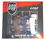 Bod Body Spray for Men -- Gift Set of 4 Bod Man Body Sprays (Black, Really Ripped Abs, Most Wanted, Fresh Blue Musk)