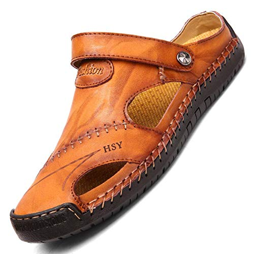 Genuine Leather Men Sandals Shoes Summer Leisure Beach Slippers Bohemia Big Size 38-48,Yellow Brown,7