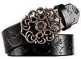 Aivtalk - Mujer Cinturón de Piel Correa Ancha con Hebilla Estilo de Flor Aleación banda con Repujado Waistband para Pantalones Vaqueros- Negro
