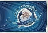 Michael & Rene Pflüger Barmstedt Verstärkte Stoffqualität 120x180 cm Kordelöse + Kordel Flagge Frohe Weihnachten Fahne Weihnachtsmann Santa Claus blau