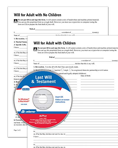 Adams Last Will and Testament with CD, Forms and Instructions (ALFP117),White, 8.5 x 0.12 x 11 inches