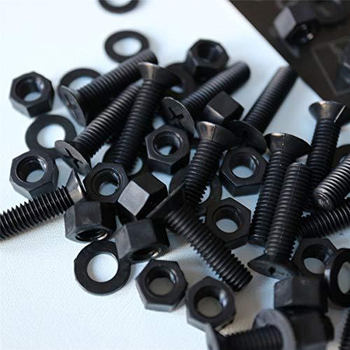 20 x tuercas y tornillos avellanados con agujero transversal Polipropileno Negros (PP), acrílico, Pernos Tornillos y Tuercas de Plástico, M5 x 20mm, anticorrosivo