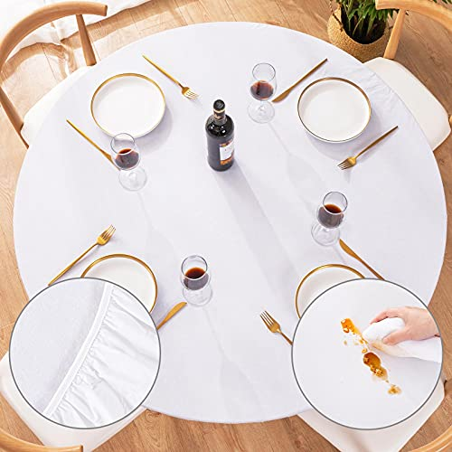 UMINEUX Round Fitted Vinyl Tablecloth with Elastic Edged & Flannel Backing, Waterproof Wipeable Round Table Cover for Indoor Outdoor Patio Use - Fits Tables up to 40'-44' Diameter(White)