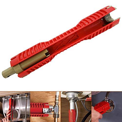 Suctato Llave multifuncional para grifo Llave para lavabo Herramientas de plomería, llave de tubo de instalación de fregadero de doble cabeza para inodoro, lavabo, grifo, baño, cocina