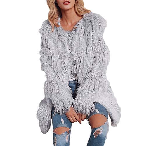 HANMAX Damen Mantel Winter Elegant Warm Faux Fur Kunstfell Cardigan Trenchcoat Rundhals Jacke Wintermantel Outwear