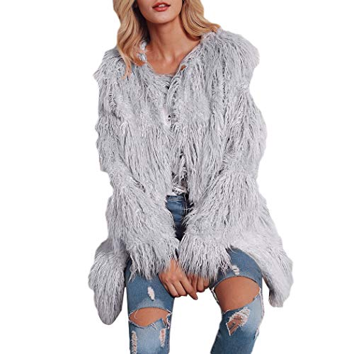 HANMAX Damen Mantel Winter Elegant Warm Faux Fur Kunstfell Cardigan Trenchcoat Rundhals Jacke Wintermantel Outwear