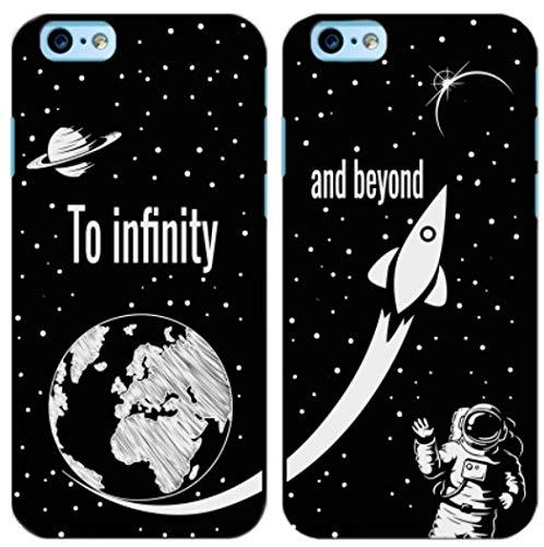 troppo figo Coppia Cover To Infinity And Beyond Custodia in Gomma Nera Morbida Idea Regalo San Valentino (1-iPhone 7/8, 2-iPhone 7/8)