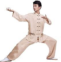 AOLI Tai Chi Uniform Clothing Arts Wing Chun Shaolin Kung Fu Training Cloths Apparel Clothing for Men Arthritis Cotton and Linen,Khaki,M