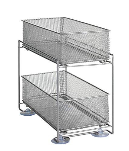 Wenko Wenko Keukenkast-opbergsysteem, roosterrek met uitschuifbare manden, 2 etages, zilvermat, 35 x 32,5 x 18,5 cm
