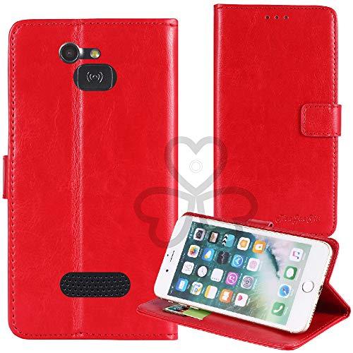 TienJueShi Rot Retro TPU Silikon Flip Book Stand Brief Leder Tasche Schütz Hülle Handy Hülle Für Doro 5516 2.4 inch Abdeckung Wallet Cover Etui
