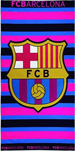 Textil Tarragó FCB Rallas Toalla de Playa, Algodón, Multicolor, 33x45x3 cm