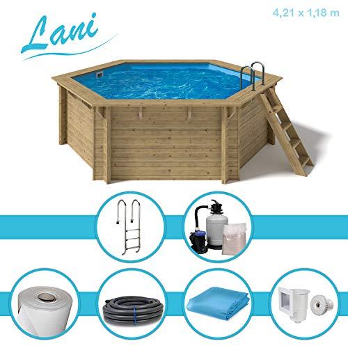 Paradies Pool® Holzpool Lani Premium Komplettset inkl. Sandfilteranlage für 50er Verrohrung, Tiefbeckenleiter, Blaue Folie mit 0,6mm Stärke, Sechseck-Pool, 421 x 118 (Ø x H), Menge: 1 Stück