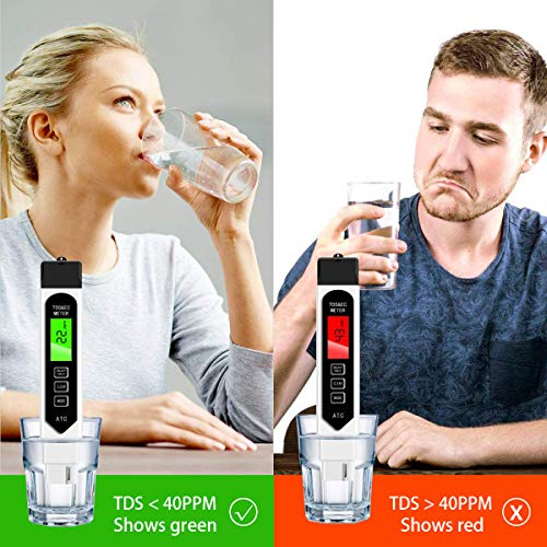 TDS Meter Digital Water Tester, Accurate Professional 4-in-1 TDS, Temperature and EC Meter, 0-9990ppm, Ideal Water Test Meter for Drinking Water, Aquariums (CR2032 Battery)