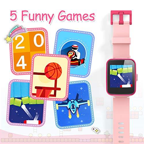 AGPTEK Smartwatch Niños, 8GB Reloj Inteligente de MP3 Música 1.54 Pantalla Táctil en Color con Llamada SOS Linterna Cámara MP3 Juegos Regalo para Navidad Cumpleaños, Rosa miniatura