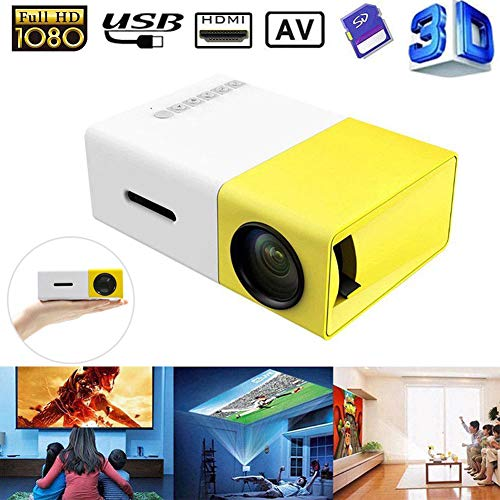 Genmaisima Pocket Projector - LED Mini Projector kompatibel mit Smartphones, PC, Laptop zur Anzeige von Großbildschirmen, HDMI, USB, TF-Karte - Bestes Gadget für Kinder,Yellow