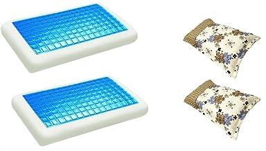 موون مخدة جل الطبية الباردة قطعتين مقاس 70x40 سم مع غطاء وسادة فارغ مقاس 75x50 سم، قطعتين ، KPCM-002