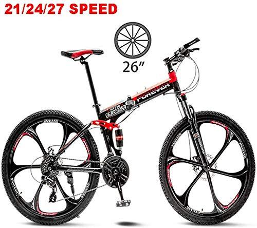 Bike Faltbares Trekking-Fahrrad Cross-Trekking-Bikes 26-Zoll-MTB Adult Land Gearshift Stahlrahmen Fahrrad Hardtail Mountainbike-21Geschwindigkeit_rot