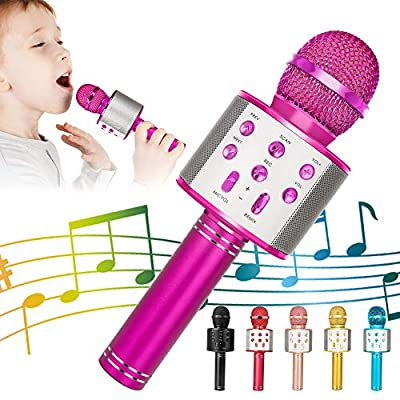 Wireless Bluetooth Karaoke Microphone, 5-in-1 Portable Handheld Karaoke Mic Speaker Player Recorder with Adjustable Remix FM Radio for Kids Adults Birthday Party KTV Christmas (Rose Red)