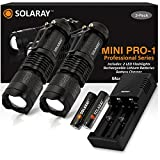 Solaray Portable Mini LED Tactical Flashlights – Super Bright Mini-Pro 1 Series Kit – High Lumen, 3 Light Modes, Attached Belt Clip – Batteries and Charger Included