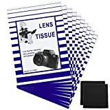 500 Pieces Lens Cleaning Paper Tissue and 2 Double Sided Cleaning Cloth-Lens Cleaning Paper for Camera Lenses, Microscopes, Computer Screens, Magnifiers, Glasses, 10 Booklets