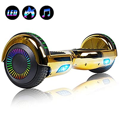 "Felimoda 6.5"" inch Hoverboard Electric Smart Self Balancing Scooter w/Built-in Wireless Speaker LED Wheels and Side Lights- UL2272 Certified"