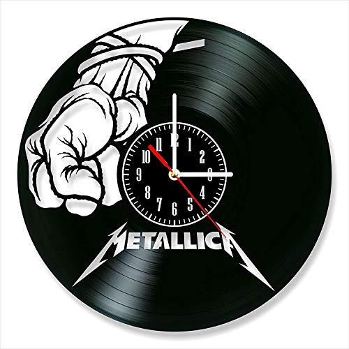 YYIFAN Wanduhr Vinyl Metallica 30cm,Schallplattenuhr Vintage Familien Zimmer Dekoration Design Uhr Wand Deko Schwarz Durchmesser,Mit Haken