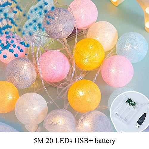 MAYKO Lichtsnoer met 20 katoenen ballen, werkt op batterijen, warmwit, katoenen ballen, LED-feestjes, thema Kerstmis, kinderkamer, nachtlampje, decoraties, roze (batterij + USB), 5 m