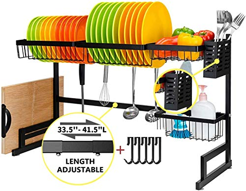 Over The Sink Dish Drying Rack (32.5''≤ Sink Size ≤ 41'') - Adjustable Kitchen Dish Rack With 5 Utility Hooks