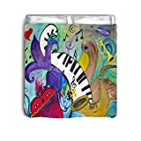 maremadebyxmarc Pelican and Jazz Music Bed Comforter (King)