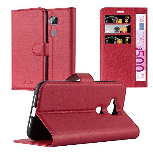 Cadorabo Hülle für Huawei G7 Plus / G8 / GX8 in Karmin ROT - Handyhülle mit Magnetverschluss, Standfunktion & Kartenfach - Hülle Cover Schutzhülle Etui Tasche Book Klapp Style