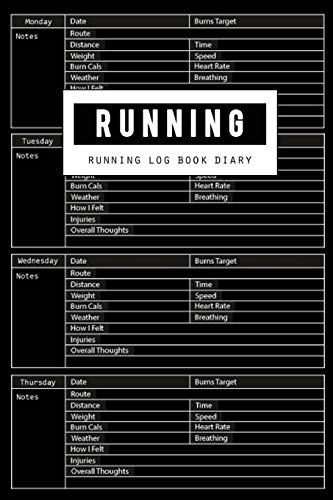 Running Log Book: Runners Training Log Diary, Sport Fitness Runners, Run Planner Notebook Journal, Burns Target, Time, Speed, Heart Rate, Breathing, Weight Loss, Hours, Size 6 x 9 Inch, 100 Page