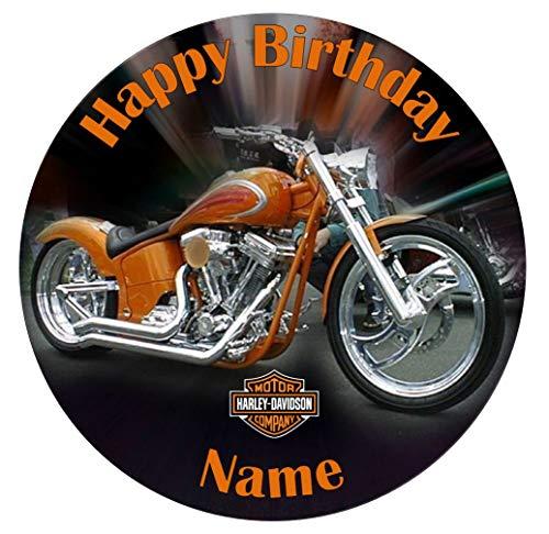 personalisierbar Harley Davidson Motorrad Essbarer Zuckerguss Kuchen Topper 19,1cm vorgeschnittenen - Rund