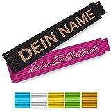 Zollstock mit Namen Gravur - personalisierter 2 Meter Holz-Gliedermaßstab in verschiedenen Farben -...