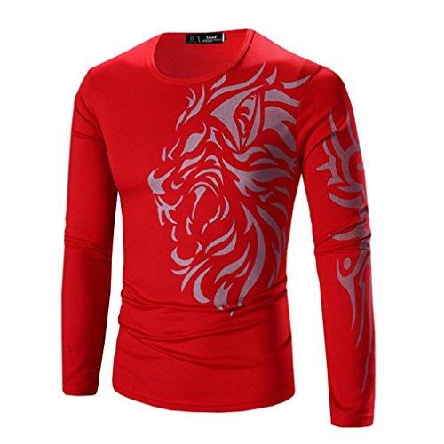 Heren T-shirt, Dasongff mannen modieuze print heren lange mouwen T-shirt O-hals T-shirts blouse tops