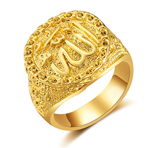 Middle East Jewelry Arab Muslim Islam Ring For Men And Women Fashion Retro Allah Ring Punk Style Gold 9 Gold