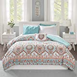 Intelligent Design Complete Bag Casual Boho Comforter with Sheet Decorative Pillow, All Season Bedding Set, Queen, Vinnie Aqua