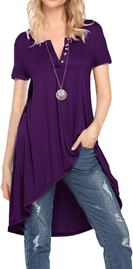 Women V neck Henly Tunic Tops Short Sleeve Button up Soft Loose Shirts Blouses for Leggings