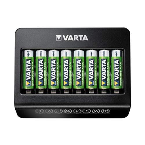 VARTA Multi Charger+, Ladegerät für Akkus in AA/AAA/9V, Einzelschachtladung, Erkennung von defekten Zellen, weltweit einsetzbar, 8 Ladeschächte