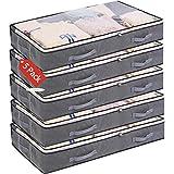 5 Pack Bolsas de Almacenamiento Debajo de la Rama Bolsa de Ropa Plegable de 75 l Recipientes de Almacenamiento de Gran Capacidad con Ventana Transparente Asas Reforzadas Organizador con Cremallera