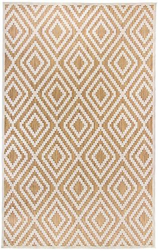 Carpetforyou Schöner moderner flachgewebter In- & Outdoor Teppich Diamond Sahara geometrisch beige braun Creme in 4 Größen perfekt für Wohnzimmer Schlafzimmer und Balkon (152 x 230 cm)