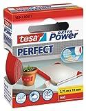 tesa extra Power Perfect Gewebeband - Gewebeverstärktes Ductape zum Basteln, Reparieren, Befestigen, Verstärken und Beschriften - Rot - 2,75 m x 19 mm