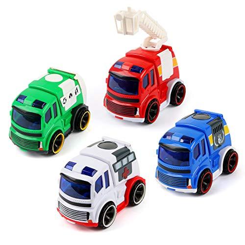 BeebeeRun Spielzeug Auto für Kinder,Spielzeug 2 jährige Junge Mädchen,Polizeiauto,Feuerwehrauto,Krankenwagen,Müllwagen