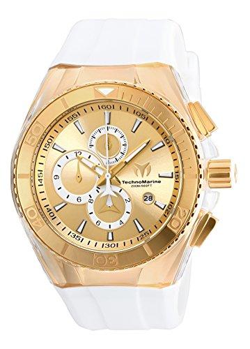Technomarine Men's Cruise Stainless Steel Quartz Watch with Silicone Strap, White, 29 (Model: TM-115046)