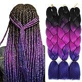 Jumbo Braiding Hair Ombre Braiding Hair Synthetic Braids Hair Extensions for Box Twist Braiding 100G/Pcs 24Inch (Black/Purple/Blue)